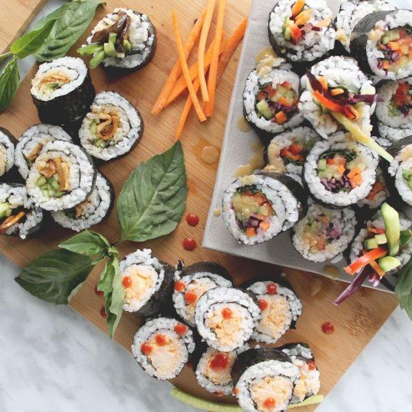 Plant Based Sushi: rainbow roll, spicy cauli, teriyaki mushroom