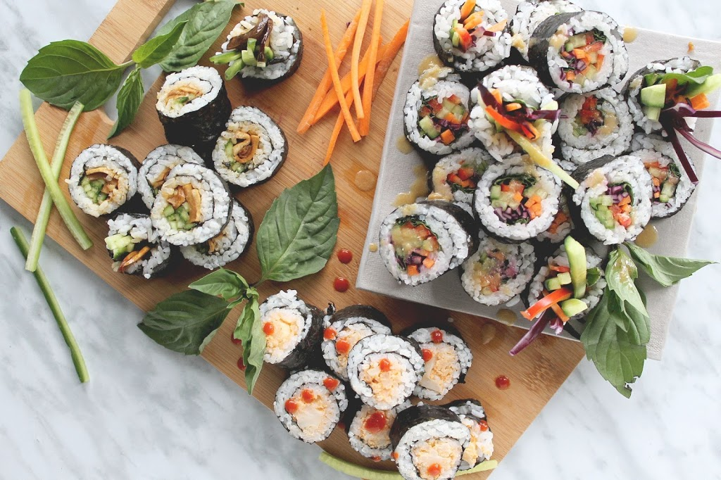 Plant Based Sushi: rainbow roll, spicy cauli, teriyaki mushroom