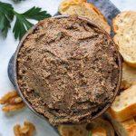 Bowl of vegan walnut mushroom pate