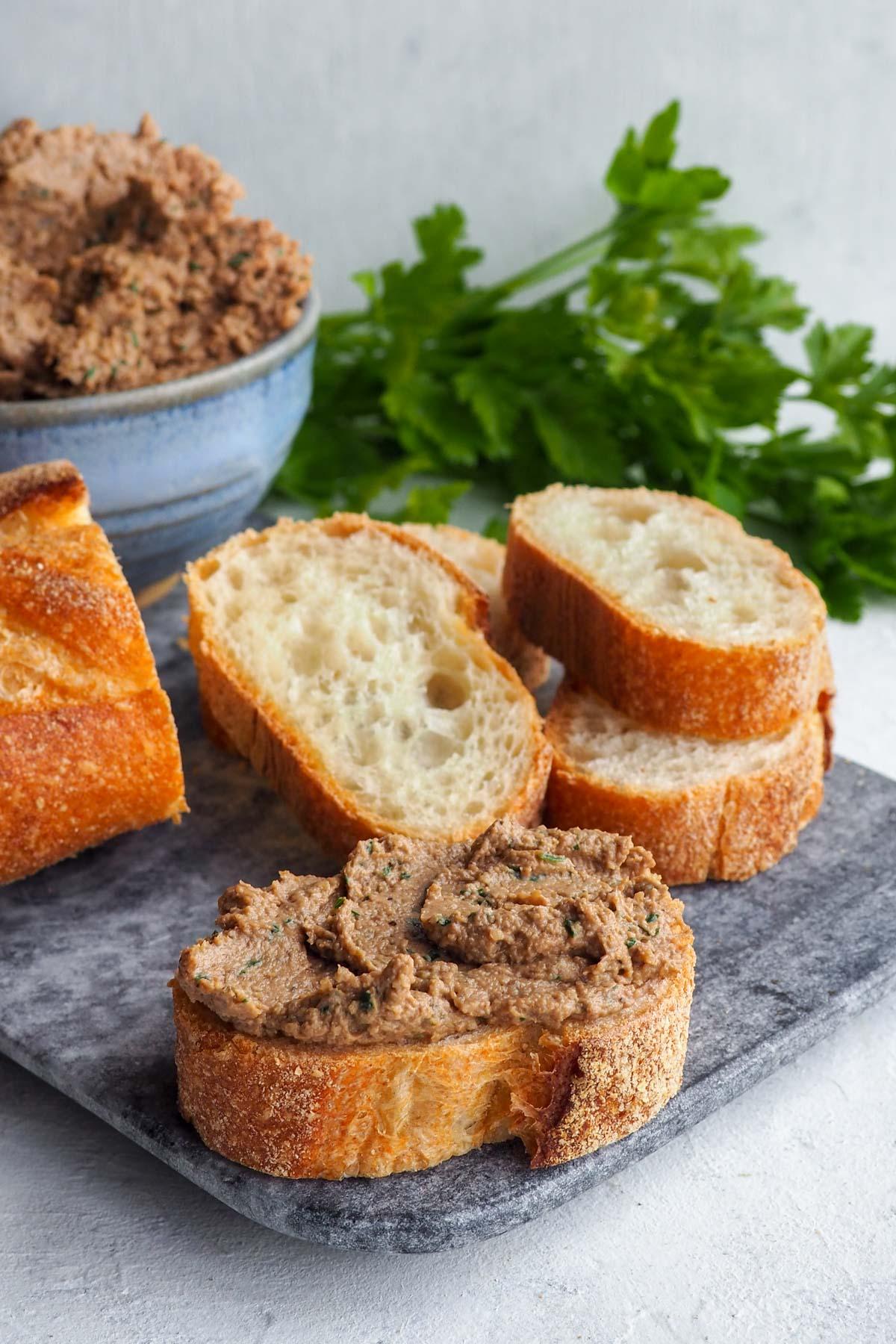 vegan walnut mushroom pate on bread