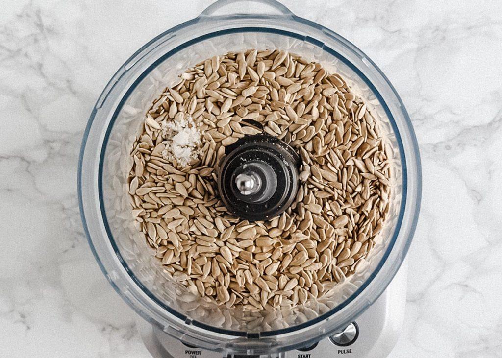 sunflower seeds in food processor