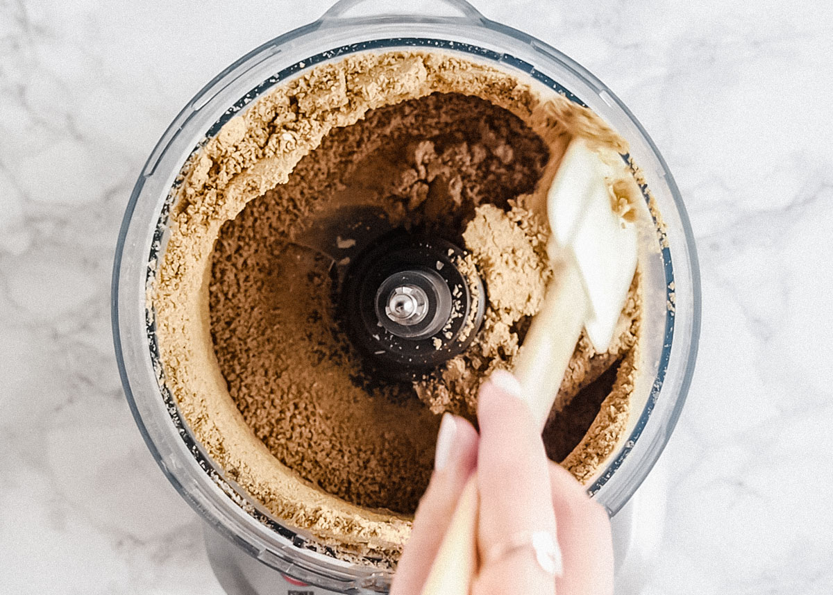 making sunflower butter in a food processor