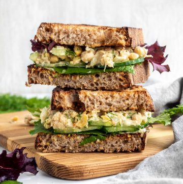 vegan chickpea salad sandwich stacked