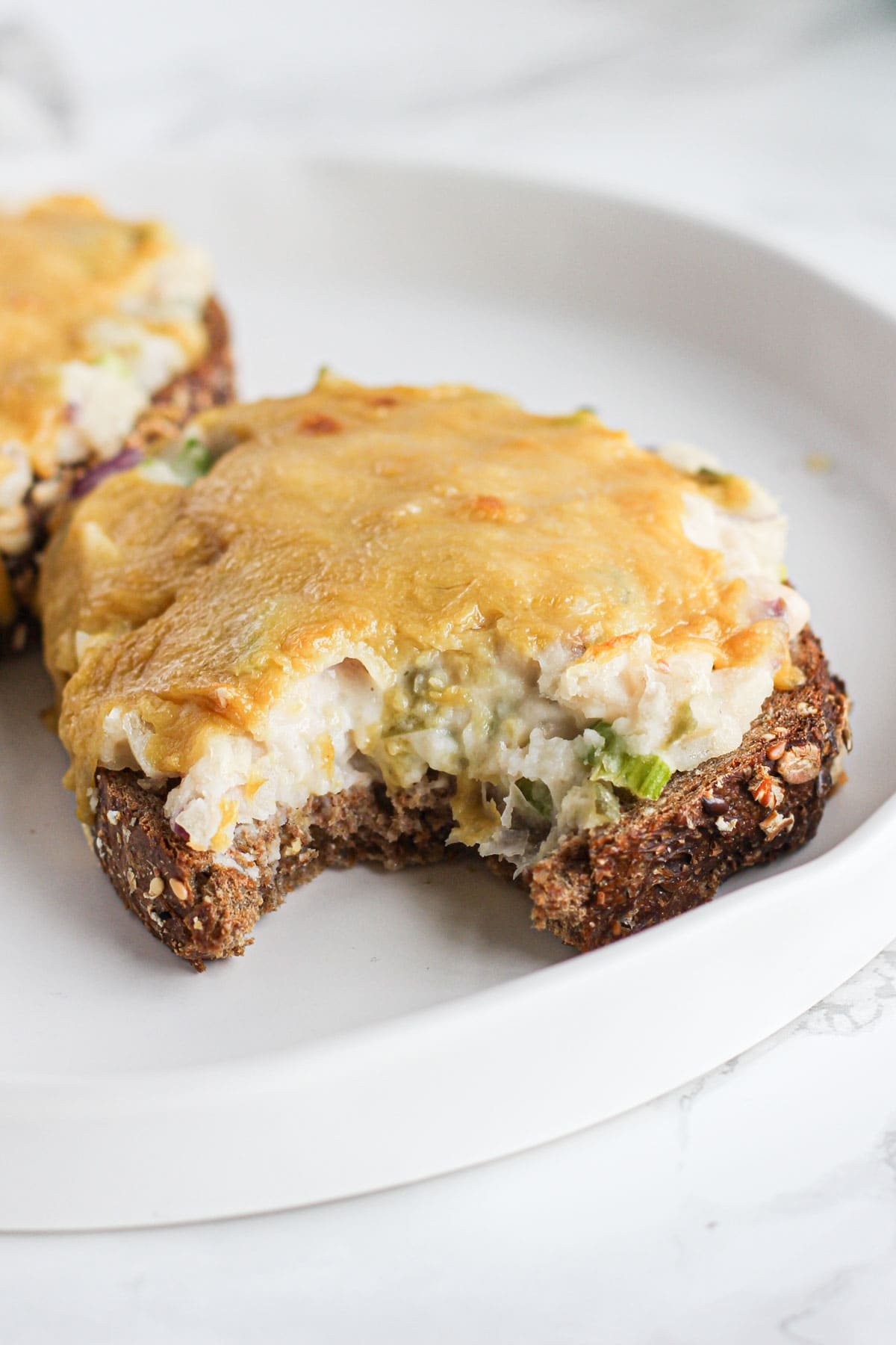 "vegan bean ""tuna"" melt on a plate with bite out"