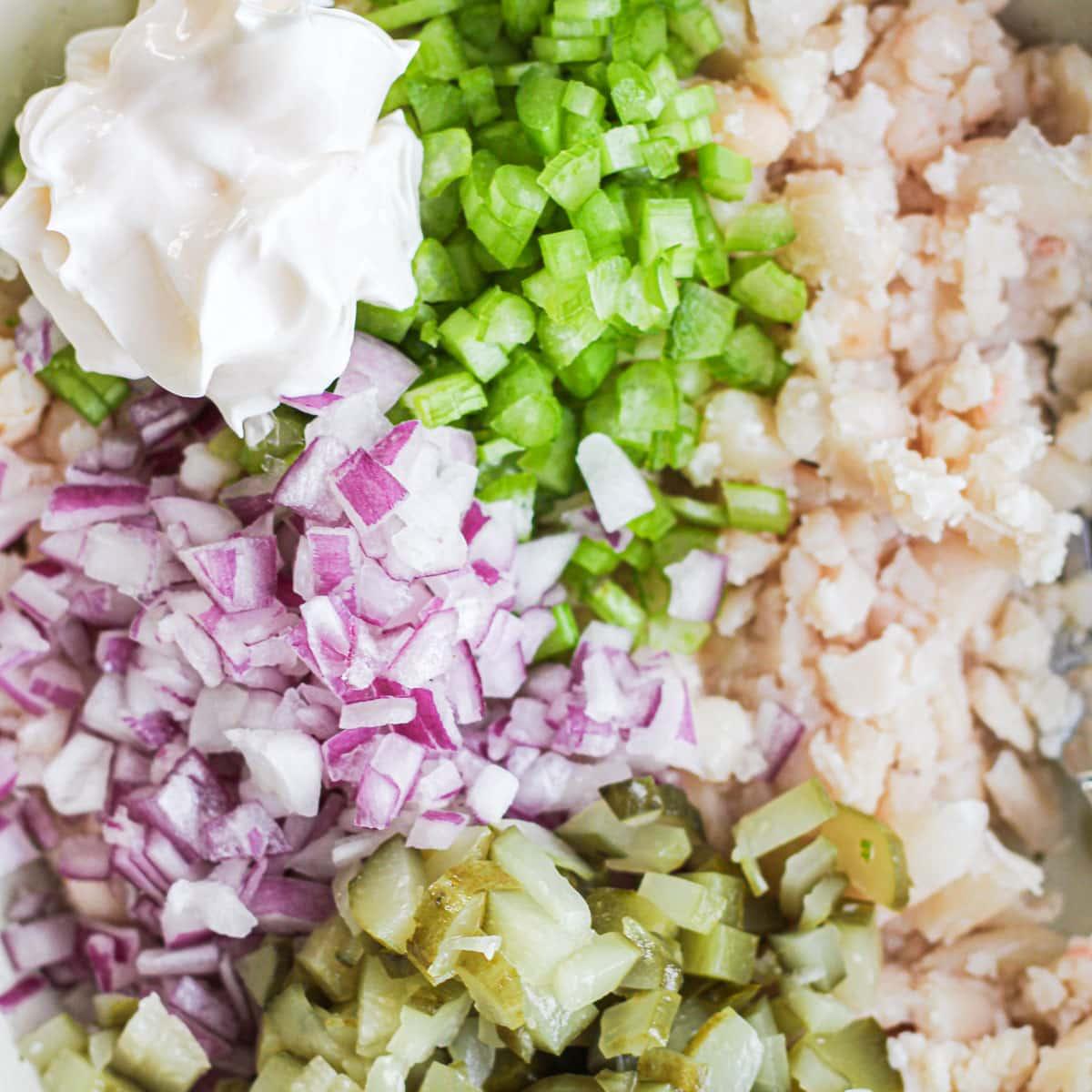 vegan tuna melt ingredients in a bowl